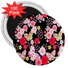 Flower Arrangements Season Rose Butterfly Floral Pink Red Yellow 3  Magnets (100 pack)
