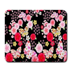 Flower Arrangements Season Rose Butterfly Floral Pink Red Yellow Large Mousepads
