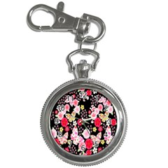 Flower Arrangements Season Rose Butterfly Floral Pink Red Yellow Key Chain Watches
