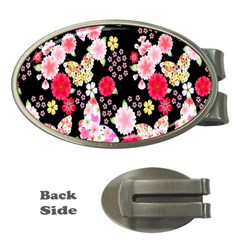 Flower Arrangements Season Rose Butterfly Floral Pink Red Yellow Money Clips (oval)