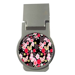 Flower Arrangements Season Rose Butterfly Floral Pink Red Yellow Money Clips (round)