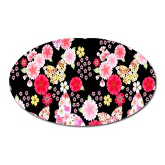 Flower Arrangements Season Rose Butterfly Floral Pink Red Yellow Oval Magnet