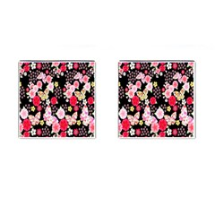 Flower Arrangements Season Rose Butterfly Floral Pink Red Yellow Cufflinks (square)