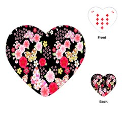 Flower Arrangements Season Rose Butterfly Floral Pink Red Yellow Playing Cards (Heart)