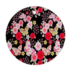 Flower Arrangements Season Rose Butterfly Floral Pink Red Yellow Round Ornament (Two Sides)