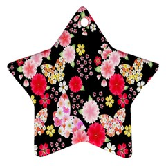 Flower Arrangements Season Rose Butterfly Floral Pink Red Yellow Star Ornament (Two Sides)