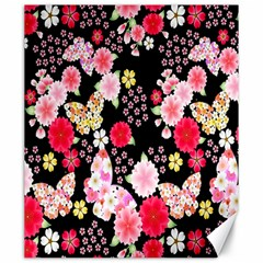 Flower Arrangements Season Rose Butterfly Floral Pink Red Yellow Canvas 20  x 24