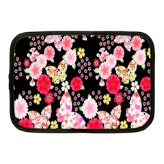 Flower Arrangements Season Rose Butterfly Floral Pink Red Yellow Netbook Case (Medium)