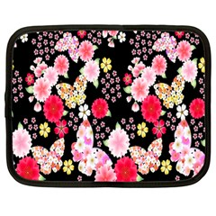 Flower Arrangements Season Rose Butterfly Floral Pink Red Yellow Netbook Case (Large)