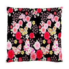 Flower Arrangements Season Rose Butterfly Floral Pink Red Yellow Standard Cushion Case (one Side)