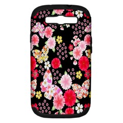 Flower Arrangements Season Rose Butterfly Floral Pink Red Yellow Samsung Galaxy S Iii Hardshell Case (pc+silicone)