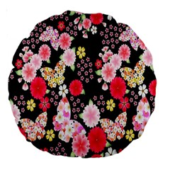 Flower Arrangements Season Rose Butterfly Floral Pink Red Yellow Large 18  Premium Round Cushions