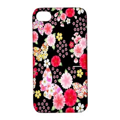 Flower Arrangements Season Rose Butterfly Floral Pink Red Yellow Apple iPhone 4/4S Hardshell Case with Stand