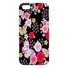Flower Arrangements Season Rose Butterfly Floral Pink Red Yellow Apple Iphone 5 Premium Hardshell Case