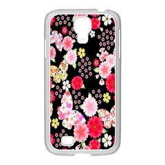 Flower Arrangements Season Rose Butterfly Floral Pink Red Yellow Samsung GALAXY S4 I9500/ I9505 Case (White)