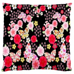 Flower Arrangements Season Rose Butterfly Floral Pink Red Yellow Large Flano Cushion Case (One Side)
