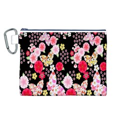 Flower Arrangements Season Rose Butterfly Floral Pink Red Yellow Canvas Cosmetic Bag (L)