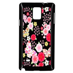 Flower Arrangements Season Rose Butterfly Floral Pink Red Yellow Samsung Galaxy Note 4 Case (Black)