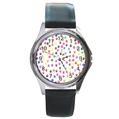 Paw Prints Background Round Metal Watch