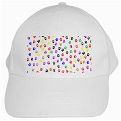 Paw Prints Background White Cap