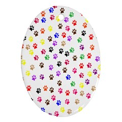 Paw Prints Background Ornament (Oval)