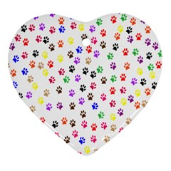 Paw Prints Background Ornament (Heart)