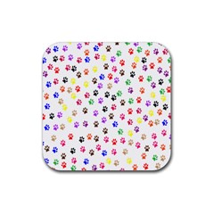 Paw Prints Background Rubber Square Coaster (4 Pack)