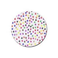 Paw Prints Background Rubber Round Coaster (4 Pack)