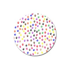 Paw Prints Background Magnet 3  (round)
