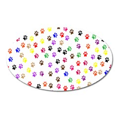 Paw Prints Background Oval Magnet
