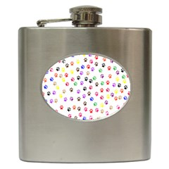 Paw Prints Background Hip Flask (6 Oz)