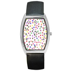 Paw Prints Background Barrel Style Metal Watch
