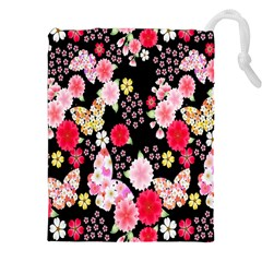 Flower Arrangements Season Rose Butterfly Floral Pink Red Yellow Drawstring Pouches (xxl)