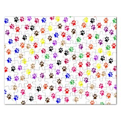 Paw Prints Background Rectangular Jigsaw Puzzl