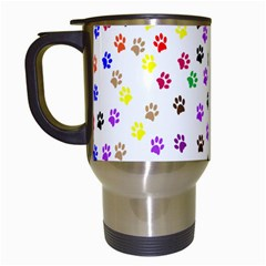 Paw Prints Background Travel Mugs (white)