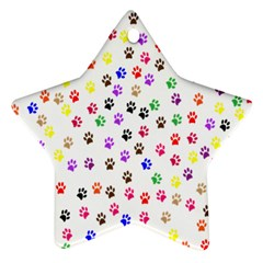 Paw Prints Background Star Ornament (two Sides)