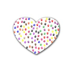 Paw Prints Background Heart Coaster (4 Pack)