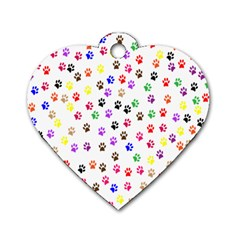 Paw Prints Background Dog Tag Heart (two Sides)