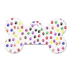 Paw Prints Background Dog Tag Bone (One Side)