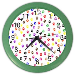 Paw Prints Background Color Wall Clocks