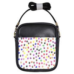Paw Prints Background Girls Sling Bags
