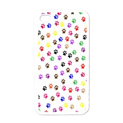 Paw Prints Background Apple Iphone 4 Case (white)