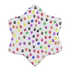 Paw Prints Background Snowflake Ornament (Two Sides)