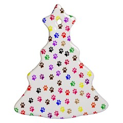 Paw Prints Background Christmas Tree Ornament (two Sides)