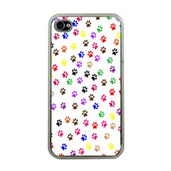 Paw Prints Background Apple Iphone 4 Case (clear)