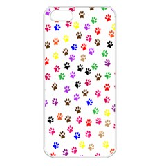 Paw Prints Background Apple Iphone 5 Seamless Case (white)
