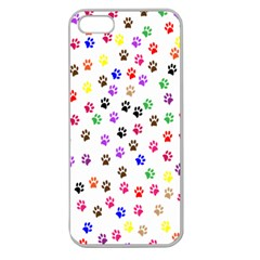 Paw Prints Background Apple Seamless Iphone 5 Case (clear)