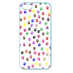 Paw Prints Background Apple Seamless Iphone 5 Case (color)