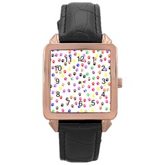 Paw Prints Background Rose Gold Leather Watch