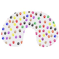 Paw Prints Background Travel Neck Pillows